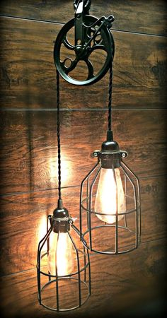 Black Ornate Pulley Light with Cool Wire Cages – Industrial Chic – Farmhouse – Steampunk - All For Decoration Dim Lighting, Types Of Lighting, Rustic Lighting, Industrial Lighting, Lighting Ideas, Club Lighting, Kitchen Lighting, Industrial Light Fixtures, Industrial House
