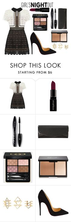 """""""Girl's Night Out!!!"""" by jadethirlwall92 ❤ liked on Polyvore featuring self-portrait, Smashbox, Lancôme, J. Furmani, Gucci, Charlotte Russe, Christian Louboutin, women's clothing, women and female"""