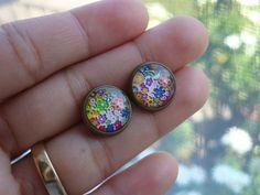 NO FEES-little garden antique brass post earrings $12.00