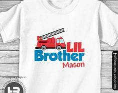 Big Brother Little Brother Matching Personalized Fire truck