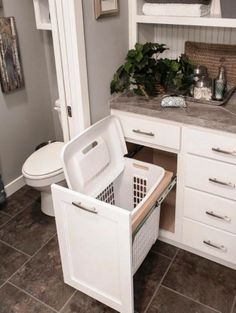 You are going to love these absolutely ingenious ideas and DIYs for bathroom.You are going to love these absolutely ingenious ideas and DIYs for bathroom organization and storage to help you create the most organized bathro. Bathroom Renos, Bathroom Interior, Modern Bathroom, Bathroom Cabinets, Bathroom Small, White Bathroom, Bathroom Vanities, Bathroom Renovations, Peach Bathroom