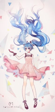 Vocaloid, , hatsune miku, , twin tails, , pink dress, , long hair, , blushing, , gloves