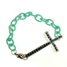 sideway cross chain bracelets alloy clasp light blue nylon chain #b053 : OK Charms, China Wholesale Jewelry Accessories Marketplace