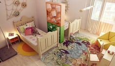 Find Best Shared Boy and Girl Bedroom Ideas : Charming Shared Kids Bedroom Design Ideas With Wooden Study Desk And Chair Also Unique Yellow Armchair And Orange Green Book Case Ideas Modern Kids Bedroom, Kids Bedroom Designs, Kids Room Design, Bedroom Ideas, Wood Bedroom, Bedroom Chair, Nursery Design, Contemporary Bedroom, Bedroom Inspiration