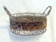 "9"" Round Rust Silver Distress Metal Leopard Velvet Fur Handle Decor Gift Basket  #Unbranded #AnimalPrintVersatileMultipurpose"