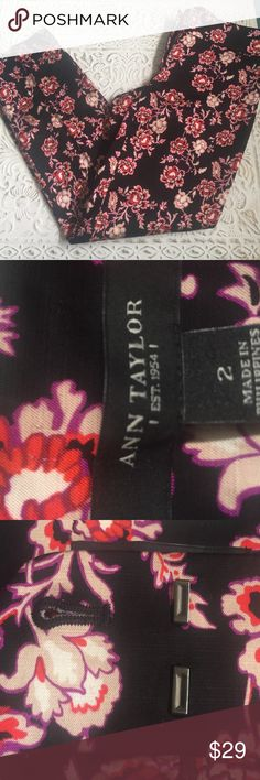 Ann Taylor printed pants Ann Taylor, Sz 2, gorgeous floral printed pants. 57%rayon, 42%cotton, 1%spandex, they have a smooth satin feeling, perfect for any evening out or lunch with the girls, 27in inseam, 6.5in ankle opening. Heads will turn, so beautiful. Ann Taylor Pants Ankle & Cropped