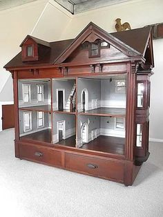 Absolutely gorgeous antique cabinet dollhouse - 1/6 scale dollhouse - (jt-cabinet dolls house - exterior 1800's)