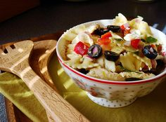 Pasta Salad with Chicken, Olives, Feta