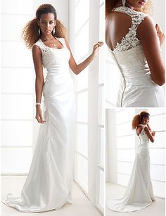 Wedding Dresses 2013 Styles, Sheath/Column Scoop Court Train Charmeuse - USD $ 177.49