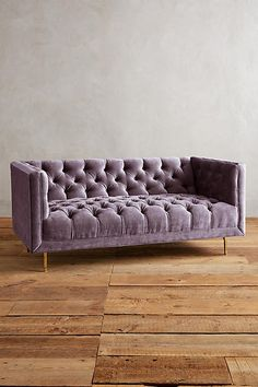 Slub Velvet Mina Settee Purple Couch, Velvet Couch, Antique Interior, Small Sofa, Couch Covers, Formal Living Rooms, Settee, Living Room Inspiration, Cozy House