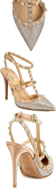 Valentino Crystal-Coated Satin T-Strap Pumps Spring 2014 #Shoes #Heels #Rockstud