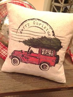 Vintage Jeep Christmas Pillow, 12x12, rustic  This pillow adds a little whimsy and nostalgic feeling to your holiday decor. Toss it on a bench or chair in your entryway, living room sofa, family room, or window seat. Would also make a great and unexpected gift for a Secret Santa exchange, an outdoorsy type, or for your cabin! Pillow Details: -Size is approx 12 x 12 inches, 100% Cotton Oatmeal fabric- gives a rustic vintage feel -stuffed with non-allergenic pillow insert -image only on front…