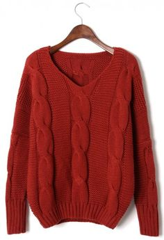 Classic Cable Knit Puff Sleeve Sweater in Oxblood