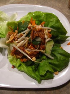 Asian Chicken Lettuce Wraps with a Thai Peanut Sauce