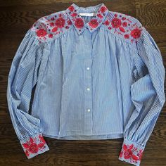 Zara Tops | Zara Embroidered Button Down Top | Poshmark Red And White Shirt, White Shirt Outfits, Button Downs, Button Down Shirt, Zara Tops, Blossoms, Blue Stripes, Colorful Shirts, Shirt Dress
