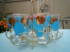 Russel Wright Eclipse Cocktail Glasses and Carrier Retro Home, Modern Retro, Vintage Girls, Vintage Tea, Vintage Cocktails, Russel Wright, Glass Bowls, Bar Carts, Vintage Glassware