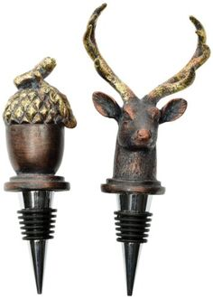 Wine Stoppers - Caffco International Biltmore Inspirations Collection Antler Hill Stag and Acorn Wine Stoppers Set of 2 >>> Click image for more details.