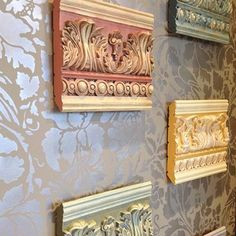 Our French Floral Damask stencil makes a lovely backdrop for some molding samples painted with pretty colors of Chalk Paint®. #royalstencils #stencilpatterns #stencils #chalkpaint