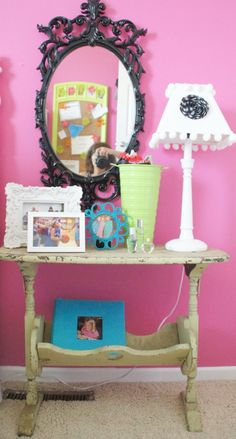 Tween Bedroom! I even have one of these table! Have to try!