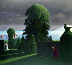 Presentiment by British Contemporary Artist David Inshaw Michael Sowa, Landscape Art, Landscape Paintings, Landscapes, Arte Lowbrow, Magic Realism, Collaborative Art, Oeuvre D'art, Art Inspo