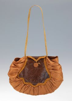 """mid-19th century purse of silk and leather 3 3/4"""" x 5"""""""