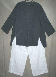 QUIRKY linen OSKA jacket DARK GREY size I loose wide VGC 42  bust lagenlook