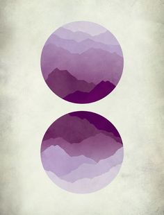 Minimalist Abstract Landscape Art Print, Mountains, Mid Century Modern, Purple, Circles:
