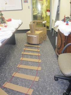Train from a cardboard box, rails from one too @no way Pinckert  looks like something you could use in your class  :)
