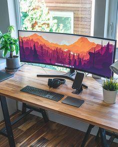 Dream Desk Setup - Ultrawide with window view Source: Computer Desk Setup, Gaming Room Setup, Pc Setup, Home Office Setup, Office Workspace, Home Office Design, Game Room Design, Workspace Inspiration, Workspace Design