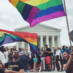 Photos Show Celebration Outside Supreme Court After Gay Marriage Made Legal