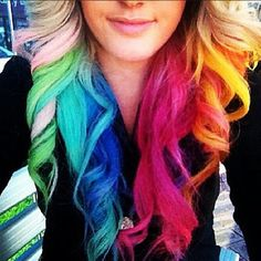love this blond/rainbow hair! Dyed Tips, Hair Dye Tips, Dip Dye Hair, Dyed Hair, Dip Dyed, Blonde Redhead, Blonde Hair, Ash Blonde, Bright Hair