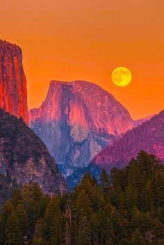 Full Moon Rise Behind Half Dome by Jeff Sullivan