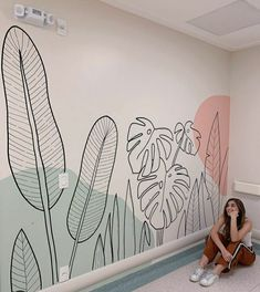 Wall Painting Decor, Mural Wall Art, Wall Decor, Simple Wall Paintings, Bedroom Wall, Bedroom Decor, Wall Drawing, Room Inspiration, Colours