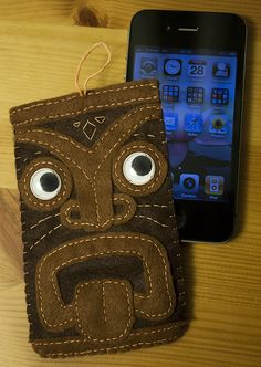Felt Tiki Head iPhone Sleeve by ~hasuhime on deviantART