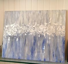 Acrylic and Silver Leaf Abstract Painting with High Gloss Resin 20x24