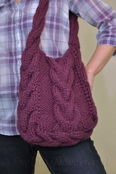 Hand knit cable shoulder bag tote crossbody by EveldasNeverland, $168.00