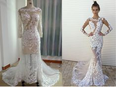 Here is a Berta 17-144 inspired long sleeve lace wedding dress from Darius Bridal that can be made in any size.