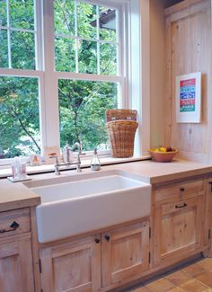 Note height of window to sink. Farmhouse Kitchen Sink and windows for beautifu. Note height of window to sink. Farmhouse Kitchen Sink and windows for beautiful view Always wanted to learn how to knit. Corner Sink Kitchen, Kitchen Sink Design, Farmhouse Kitchen Cabinets, Kitchen Redo, New Kitchen, Kitchen Remodel, Kitchen Dining, Awesome Kitchen, Maple Kitchen