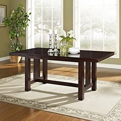 Walker Edison Contemporary Cappuccino Wood Dining Table