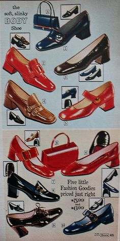 Popular women's shoe styles were platform shoes, clogs, wedges, and vintage heels. Thick heels and tall soles found their way into the disco scene Fall Handbags, Cute Handbags, Cheap Handbags, Fashion Handbags, Purses And Handbags, 60s Shoes, Women's Slip On Shoes, Women's Shoes, Unique Purses