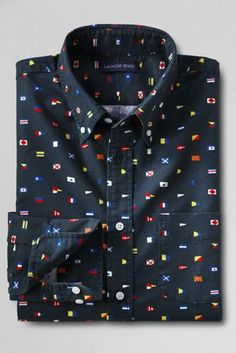 Men's Traditional Fit Print Sail Rigger Oxford Shirt from Lands' End