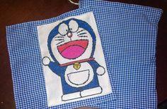 Bolsa almuerzo con mantel individual de Doraemon bordado en punto de cruz