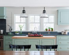 Blue Green Kitchen Cabinets