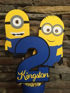 This item is unavailable Minion Centerpieces, Minion Party Decorations, Birthday Centerpieces, Balloon Decorations, Minion Birthday Banner, Minion Theme, 3rd Birthday Parties, 2nd Birthday, Birthday Ideas