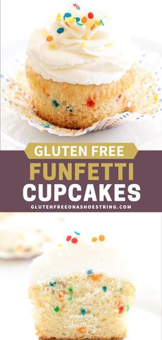 Festive homemade gluten free Funfetti cupcakes with fluffy buttercream frosting are the perfect way to make anything a celebration. They're made in a small batch that can easily be doubled. #GlutenFree #Dessert #Cupcakes #Funfetti