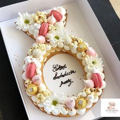 Add 1 chocolate pudding, crumbled cookies, and gummy worms together and what do you get? Poppy's idea of afternoon fun! Engagement Cake Design, Engagement Cupcakes, Number Birthday Cakes, Number Cakes, Wedding Desserts, Wedding Cakes, Hen Party Cakes, Alphabet Cake, Cake Lettering