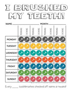 Printable Tooth Brushing Reward Chart - Happiness is Homemade