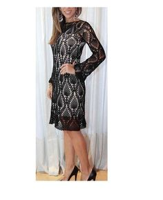 "Black Lace Beauty / Figure Hugging Dress / sheer boho style / Beach or Party  / 30"" - 36"" length can be specified / Made to Order"