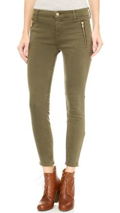Like the zippers- MOTHER CROPPED ZIPPER WELT JEANS