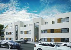 Modernes Wohngefühl für junge Menschen vermittelt diese 3D-Visualisierung eines Wohngebäudes.